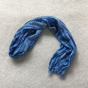 Blue and White Patterned Thin Summer Scarf Fringe